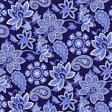 Deco Nature Collection Paisley Floral Navy 100% Cotton Fabric by the Yard
