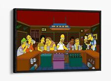 SIMPSONS THE LAST SUPPER -FLOAT EFFECT CANVAS WALL ART PIC PRINT- BROWN YELLOW