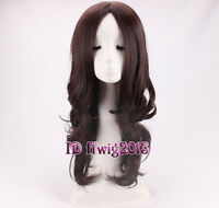 Woman Long Middle Part Wavy Curly Synthetic Wig Brown Natural texture Wonder Wig