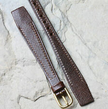 Ladies open-end watch band brown textured leather 13mm open-ended for fixed lugs