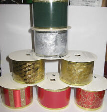 48 ROLLS CHRISTMAS RIBBON GOLD SILVER 4M GIFT WRAP PRESENTS WHOLESALE JOBLOT £