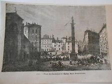 Gravure 1878 - Lyon Place des Cordeliers et l'église Saint Bonaventure