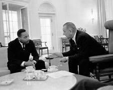 Martin Luther King Jr and President Lyndon Johnson Oval Office 1963 McMahan 10x8
