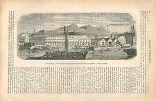 Port de Brest Ponton à Bigues Atelier des Chaudières Bateau en Fer GRAVURE 1875