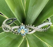 Barbara Bixby Sterling&18K Gold Blue&White Topaz Flower Cuff Bracelet
