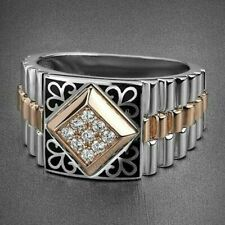 White Sapphire Ring Wedding Men's Jewelry Fashion 925 Silver & Rose Gold Filled