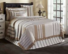 Hand Quilted Queen Ruffled Quilt Country Patchwork Gray Tan Stripe Check Grace