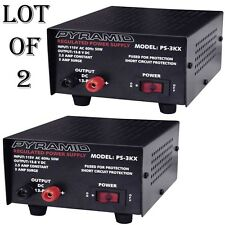 2 LOT) Pyramid PS3KX 3Amp 12Volt DC Power Supply for Phones CB HAM Radio Scanner