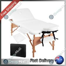 Portable Wooden Massage Table 3 Fold Adjustable Height Beauty Therapy 70cm White