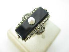 Art Deco Ring 800 Silber Onyx Markasit Perle 20er Modernist Vintage silver ring