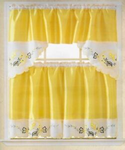 BUTTERFLY YELLOW /BEIGE EMBROIDERED DECORATIVE KITCHEN CURTAIN 3 PCS SET