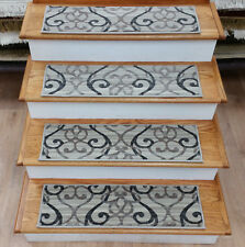 "Rug Depot 13 Transitional Carpet Stair Treads 30"" x 9"" Staircase Rugs Beige Poly"