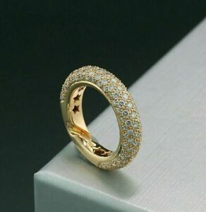 14K Yellow Gold Plated Pave Set Engagement Eternity Band Ring 2.75 Ct Diamond