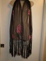 Valerie Stevens Shawl Wrap Floral Pink Sequin Beaded Dark Brown Shiny Metallic