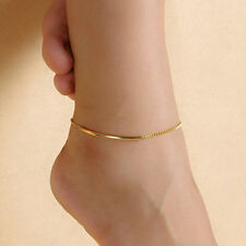 Women Gold Plated Elbow Pipe Chain Anklet Bracelet Barefoot Sandal Foot Jewelry