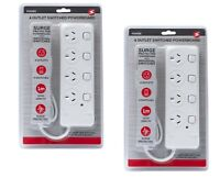 2x 4 Way Outlet SURGE PROTECTOR Power Board w/ INDIVIDUAL SWITCHES 1 METER SAA