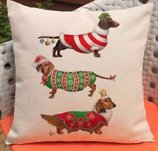 """Christmas Jumper DACHSHUND 3 Sausage DOGs LINEN-COTTON 17"""" CUSHION COVER UK Sale"""