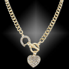 GN- EG_ BA_ LADY RHINESTONE HEART CHARM PENDANT SHORT CHAIN NECKLACE JEWELRY POP
