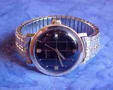 1960's SWISS GLYCINE VACUUM CASE STEEL/GOLD BLACK AUTOWIND DIVERS WRIST WATCH