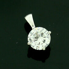 9ct White Gold 6mm Basket Style CZ Pendant Hand MADE IN UK -Free Box