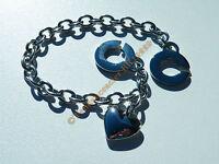 Bracelet 20 cm Pur Acier Inoxydable Fermoir C Original Coeur Breloque Argenté