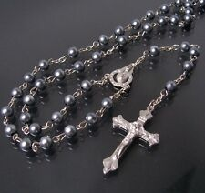 Rosary Necklace Cross Pendant Maria Pearl Grey Silver Bead Chain K1600