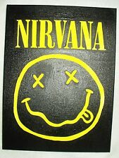 Canvas Painting Nirvana Smiley Face Black & Yellow Art 16x12 inch Acrylic