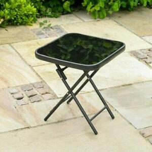 Home Furniture Glass Folding End Table Top Small Side Stool Garden Patio Drinks