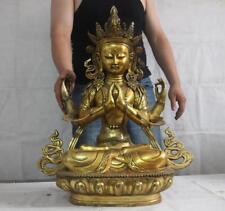 26 Copper Bronze Gild Four-arm Hands Avalokitesvara Guan yin Bodhisattva Buddha