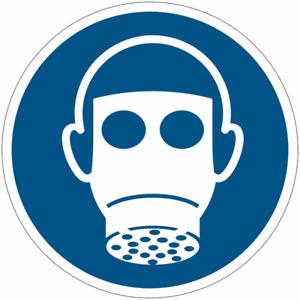 """Cartelli obbligo ISO 7010 """"Protezione delle vie respiratorie obbligatoria"""" M017"""