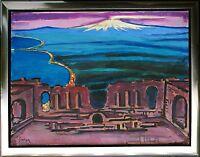 Erich Waske 1889-1978 Amphitheater Taormina vor Ätna Sizilien Gemälde 69 x 92 cm