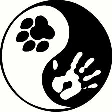 Paw print Yin Yang sticker, peace hippie for bumper ying inside or outside love