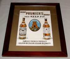 Original Antique 1930's  French Prunier's Brandy Framed Advertising Poster Sign