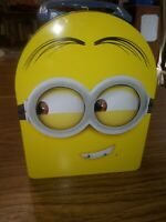 MINIONS Head Tin Metal Lunch Box Storage Case Kids School Bag