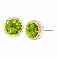 3 Ct Natural Peridot Stud Earrings in Sterling Silver & 14k Gold