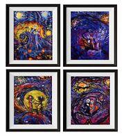 4 pcs Jack Sally Nightmare Before Christmas Starry Night Wall Art  Decor M038