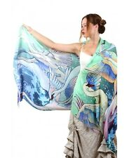 Fair Swans Hand-Painted Scarf, Shawl or Wrap, Silk & Cotton Blend
