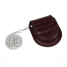 Vintage Leather Chain Pocket Watches Holder Storage Case Box Purse Pouch Bags