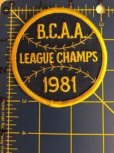 Vintage B.C.A.A. League Champs 1981 Baseball Patch BCAA Little Beavercreek Ohio