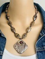 Vintage 80's Brown Jasper Stone Beaded Pendant Boho Necklace