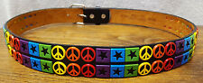 """Peace Rainbow Faux Leather Belt-Size 32-36""""-Black-Metal Ring Buckle-B6025-Italy"""