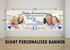 Personalised GIANT Large 45th Sapphire Wedding Happy Anniversary Banner N44