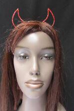NEW WOMEN HEAD BAND RED RHINESTONES GOLD METAL SMALL DEVIL EARS HALLOWEEN STYLE