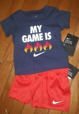 """Nike Boys 2 Piece Outfit, Orange/Black  Short Set """"MY GAME IS FIRE""""🔥🔥Size 18mo"""