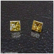 Square Princess Cut Natural Yellow Loose Diamond. 0.10ct SI1 Single Stone