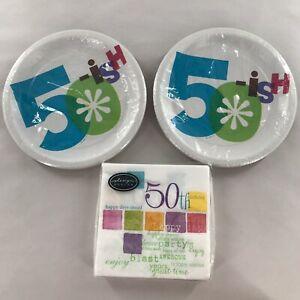 Hallmark Party Express 50-ish Dessert Plates & Happy 50th Birthday Napkins