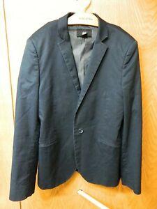 Mens Blazer Sport coat Jacket  H & M  34r Cotton Blend Dark Navy Blue  S-#59