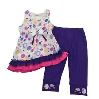 Girls 2 Piece Outfit Purple Pants Causal Clothes Ruffle Top 2PC Set Size 5,7,