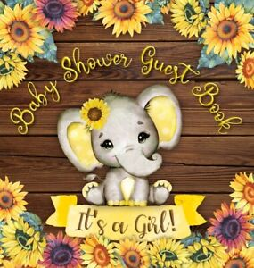 It's A Girl! Baby Shower Guest Book: Cute Elephant Baby Girl, Rustic Wooden...