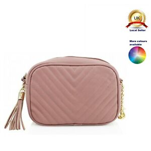 Small Cross Body Messenger Woman Girl V - Quilted Tassel bag Faux Leather